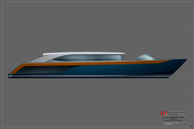 Rob Doyle Design 10m Limousine Superyacht Tender
